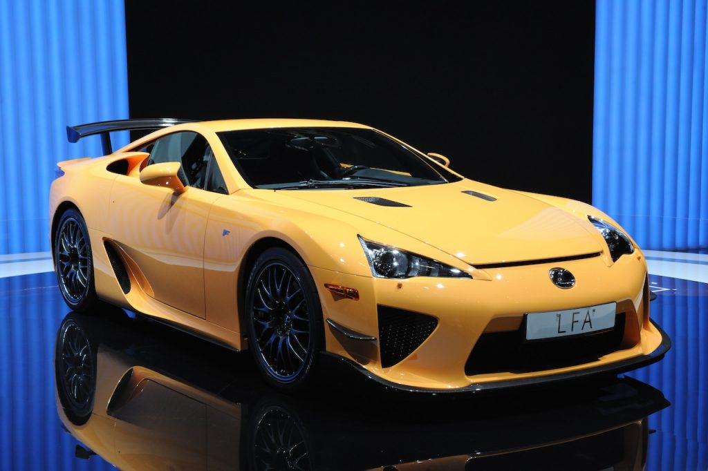 The Lexus LFA is a carbon-fiber bodied Japanese V10 supercar.