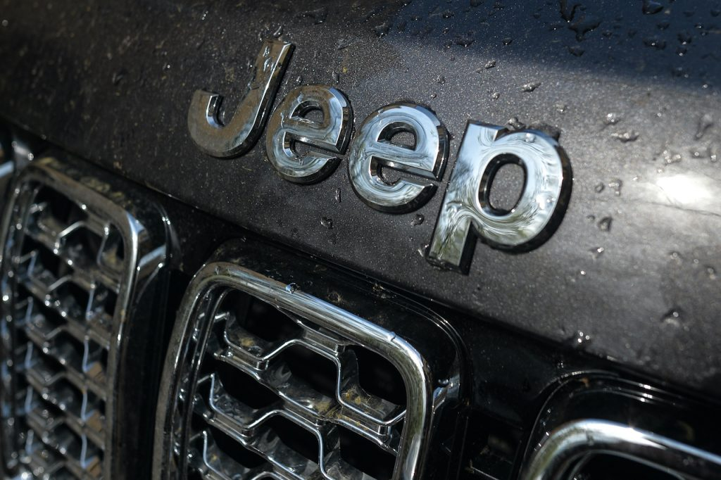 A close up image of the Jeep logo