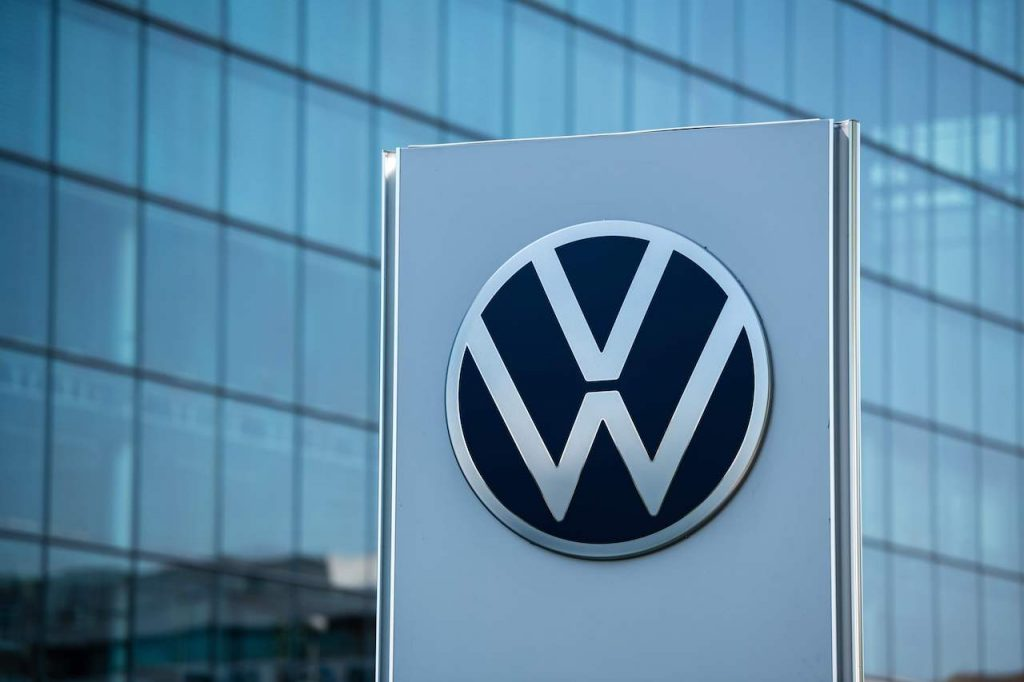 A close up image of the Volkswagen logo.