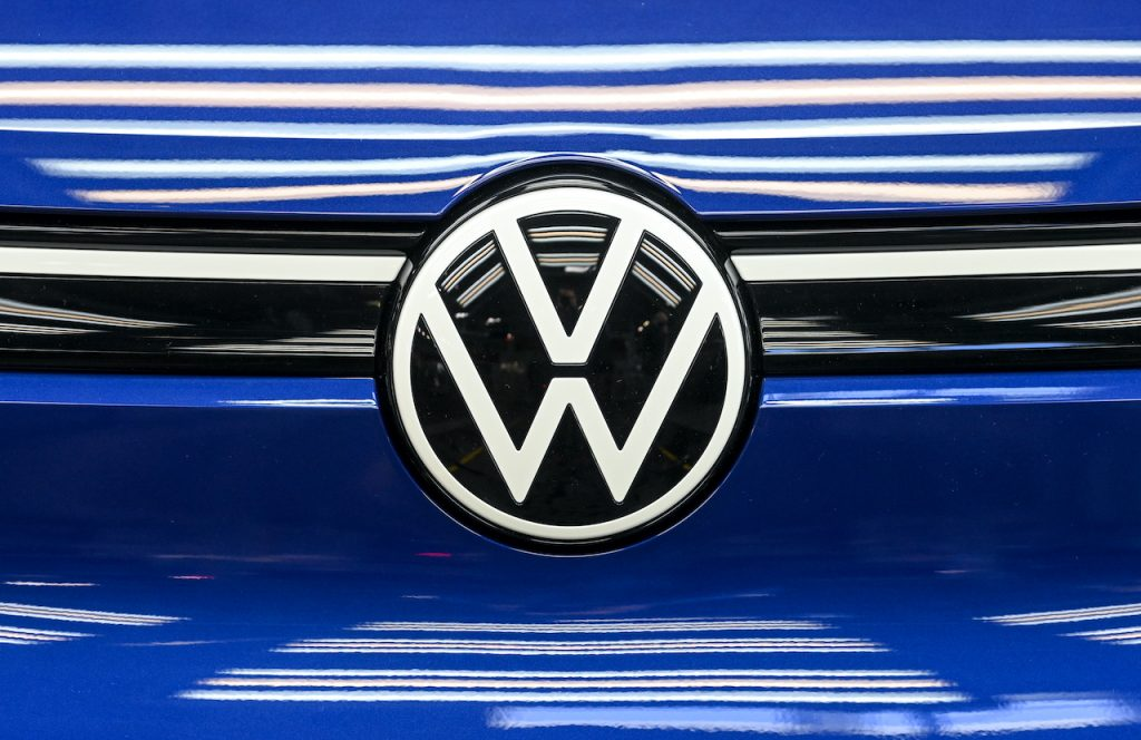 An up close image of the Volkswagen logo.