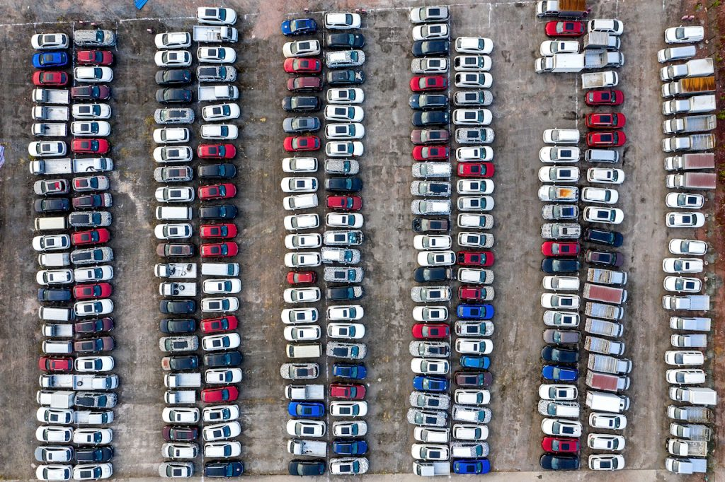 An areal image of a car parking lot.