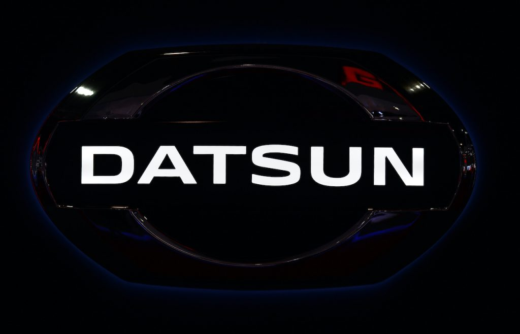 A close up image of the Datsun logo.