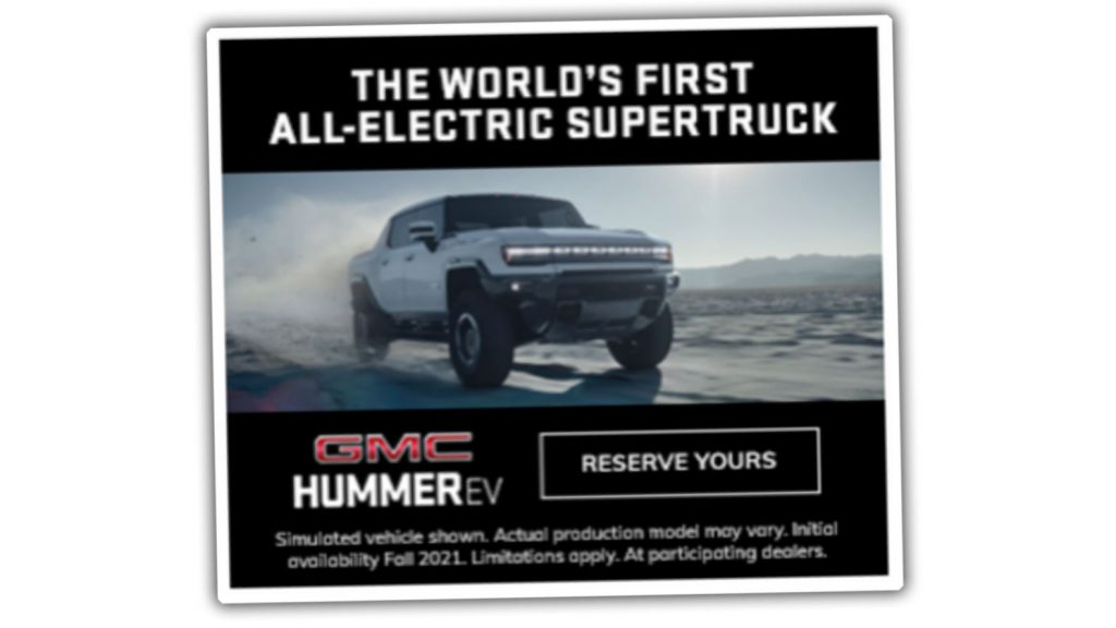 A leak of the GMC Hummer electric pickup showed up in an advertisement.