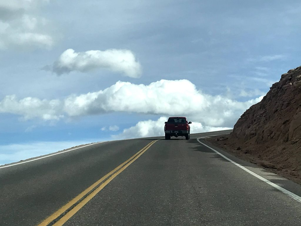 The road looks like it's going into the sky on Pike's Peak