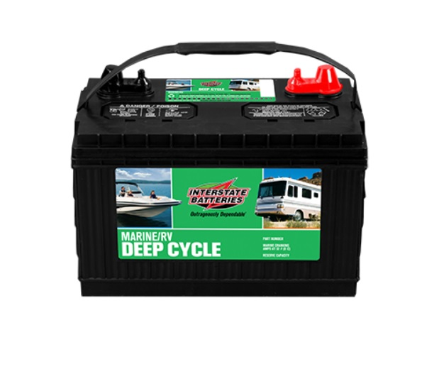 A green-labeled Interstate RV deep cycle battery