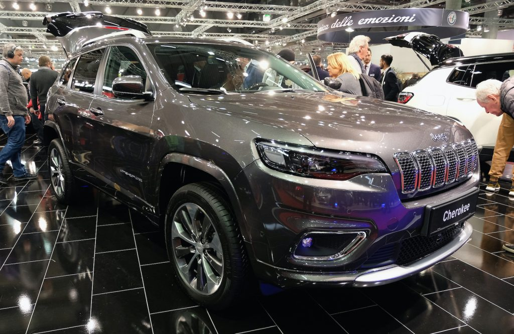 A Jeep Cherokee is displayed during the Vienna Autoshow