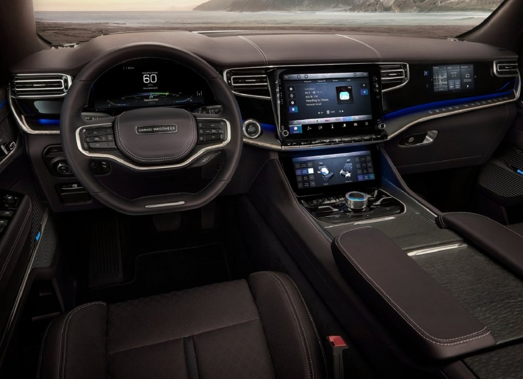 The Jeep Grand Wagoneer Concept's front seats, dashboard, and digital screens