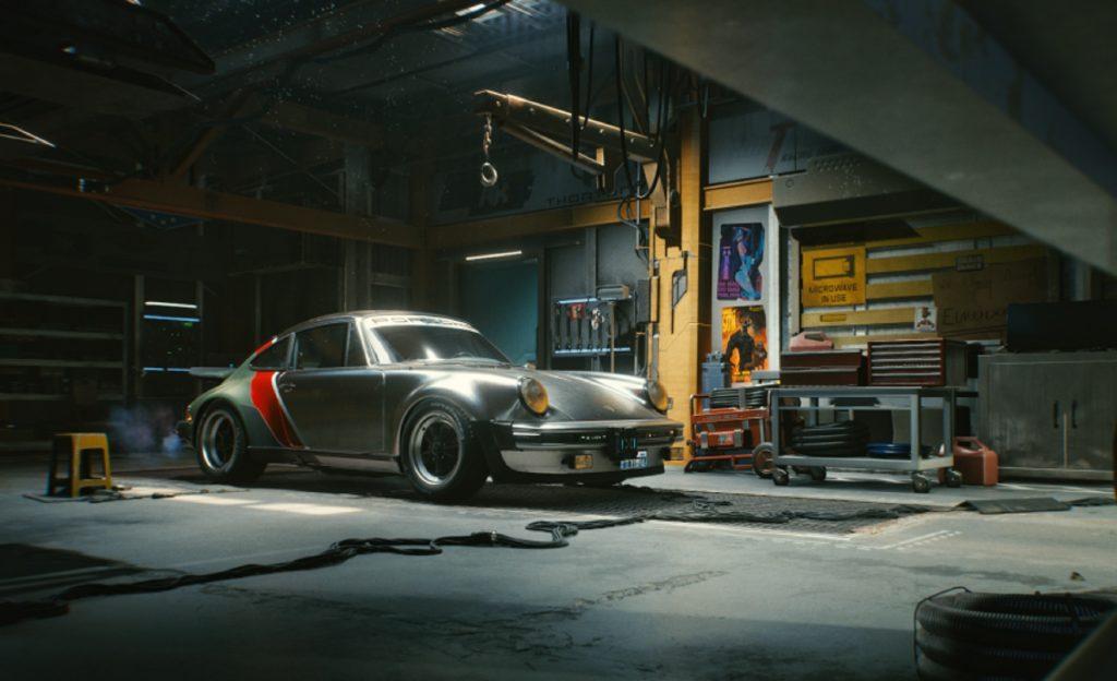 A rendering of the 1977 Porsche 930 911 Turbo in Cyberpunk 2077