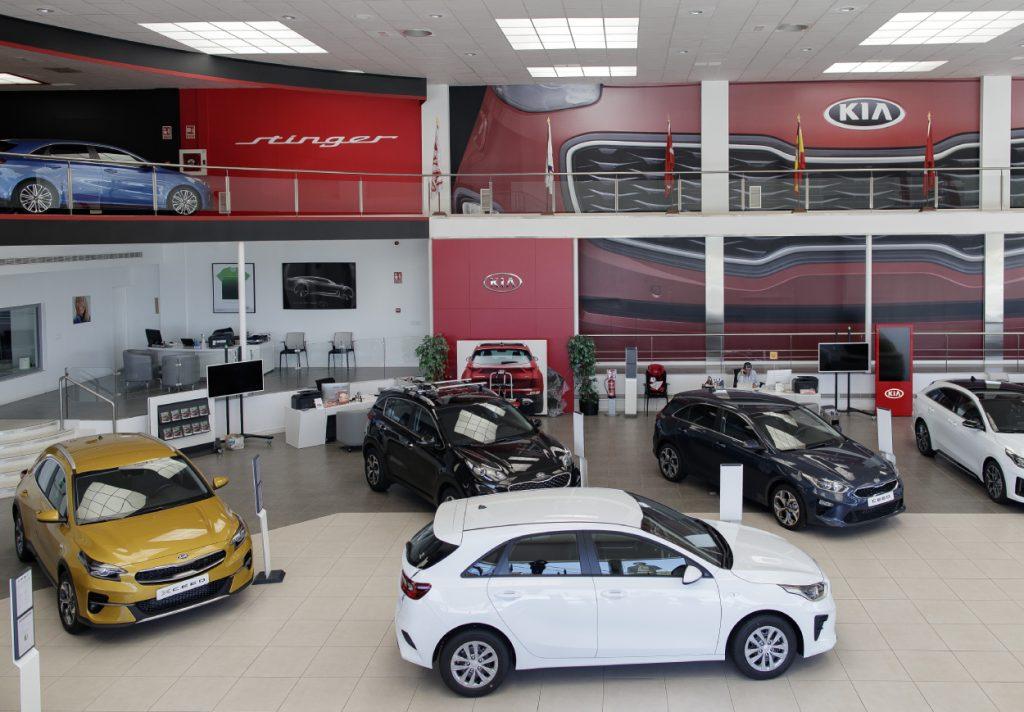 The inside of a Kia car dealership