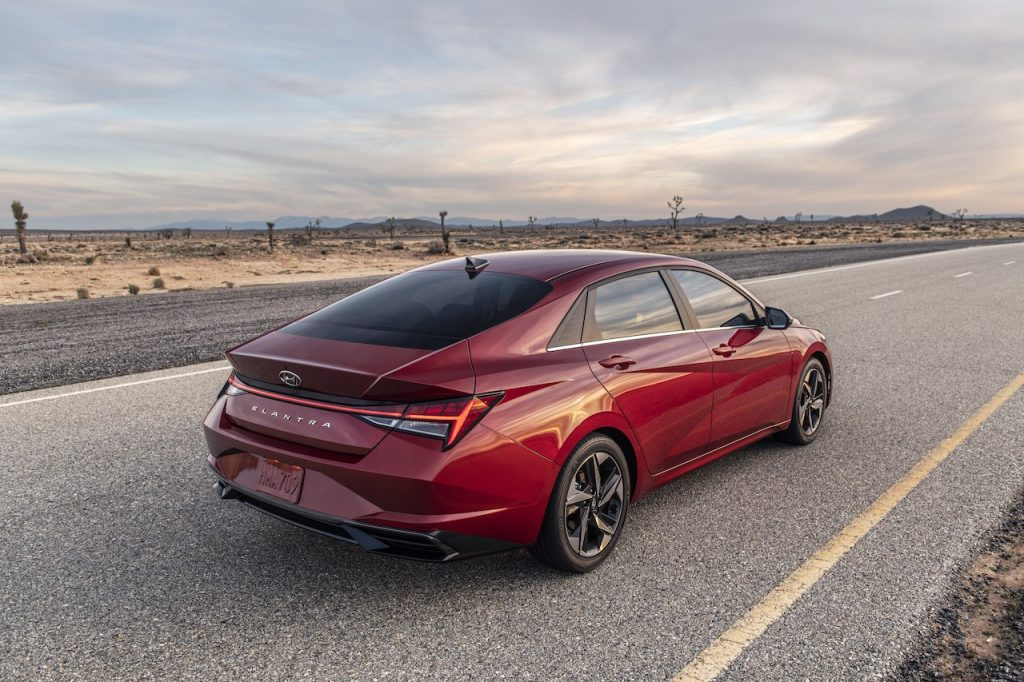 A photo of the 2021 Hyundai Elantra outdoors.