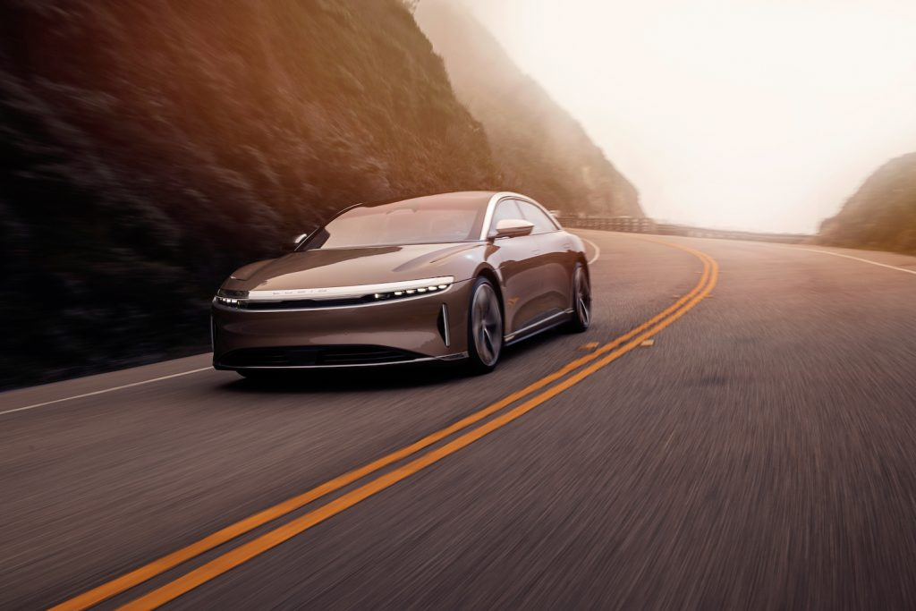 The Lucid Air driving