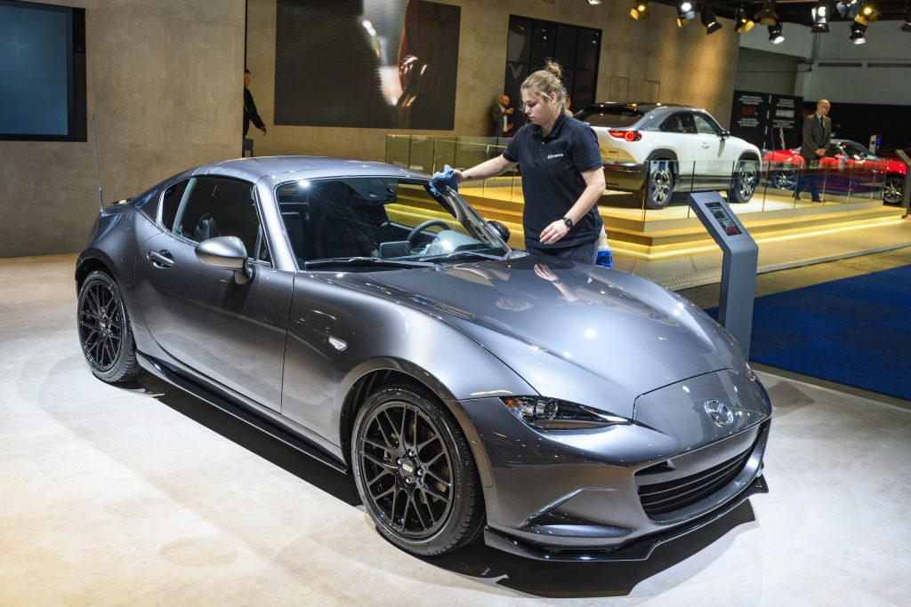 Mazda MX-5 RF compact sports car on display at Brussels Expo