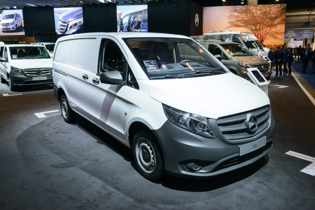 A Mercedes-Benz Metris van on display at an auto show