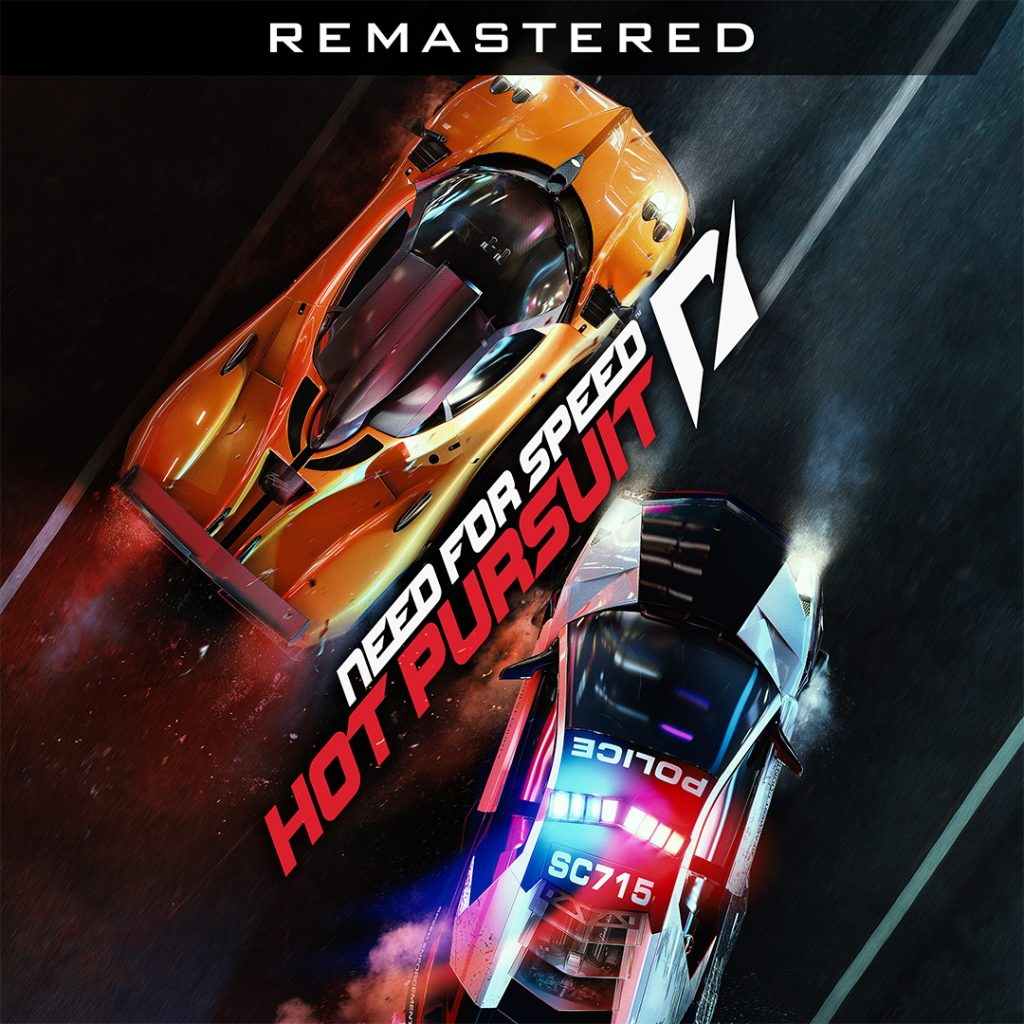 Need for Speed Hot Pursuit Remastered logo written diagonally next to two sports cars