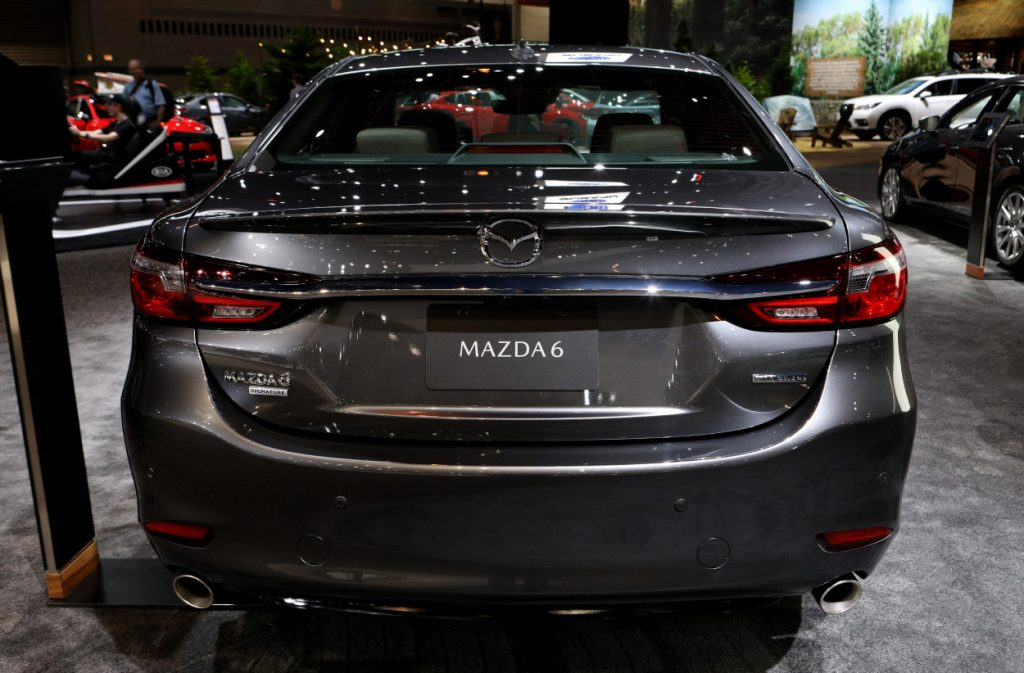 A Mazda6 on display at an auto show