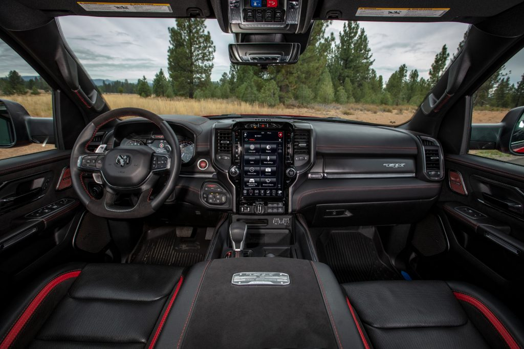 The 2021 Ram 1500 TRX's red-and-black interior
