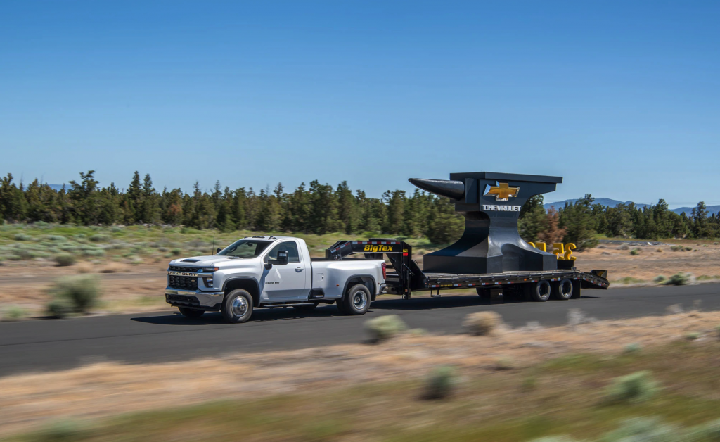 2021 Chevy Silverado 3500HD  showing it can tow 36,000 lb