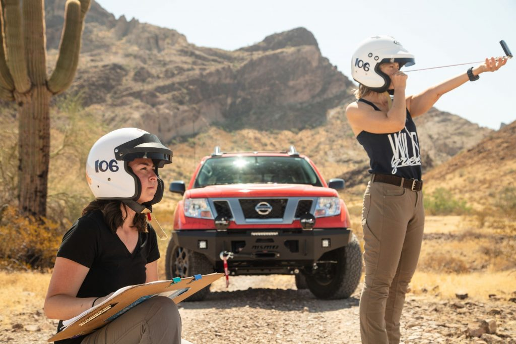 Sedona Blinson and Lyn Woodward with the 2020 Nissan Frontier Nismo Rebelle Rally truck