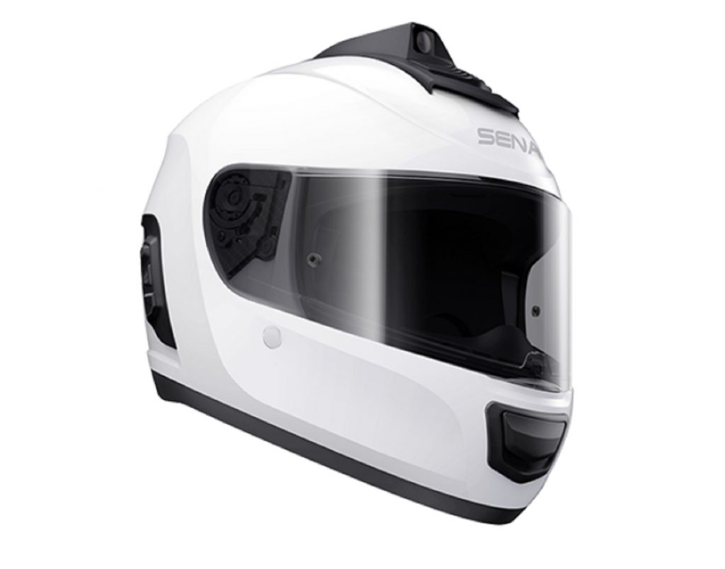 A white Sena Momentum INC Pro smart motorcycle helmet