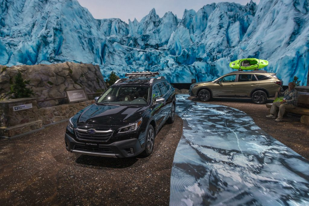 The 2020 Subaru Outback is seen in a U.S. National Park-themed display at AutoMobility