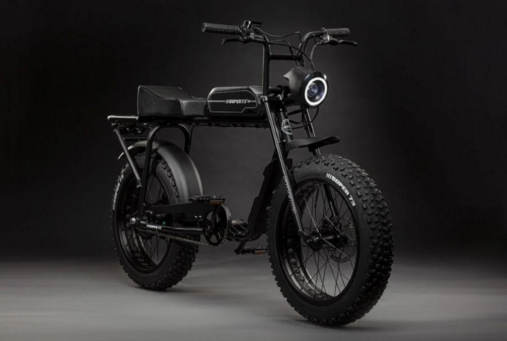 A black Super73 S1 e-bike