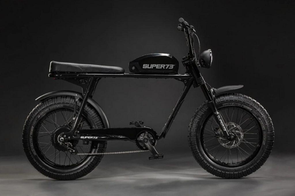 The side view of a black Super73 S2 e-bike