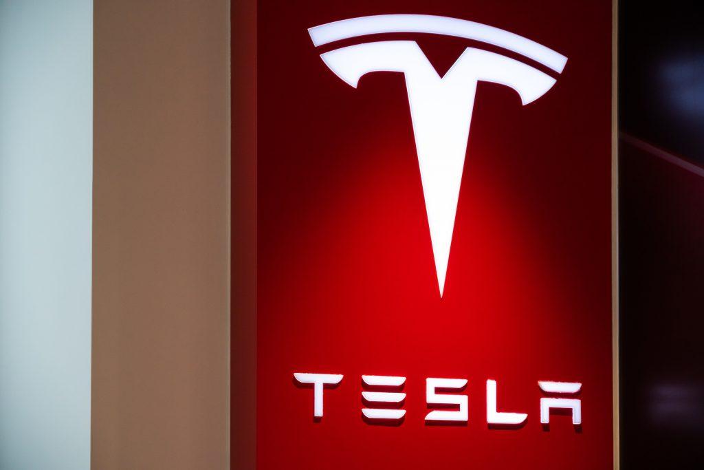 Tesla logo on display