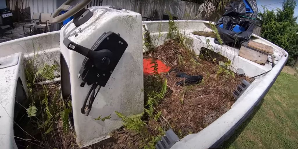 A view of the vegetation growing in a 2003 Sea-N-Sport boat.