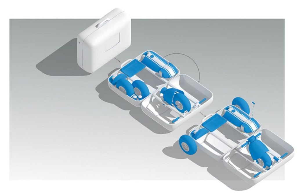 This diagram shows a luggage piece that converts into The Amazing Suitcase Car