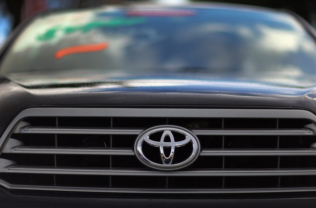The front grille of a Toyota Sequoia on display