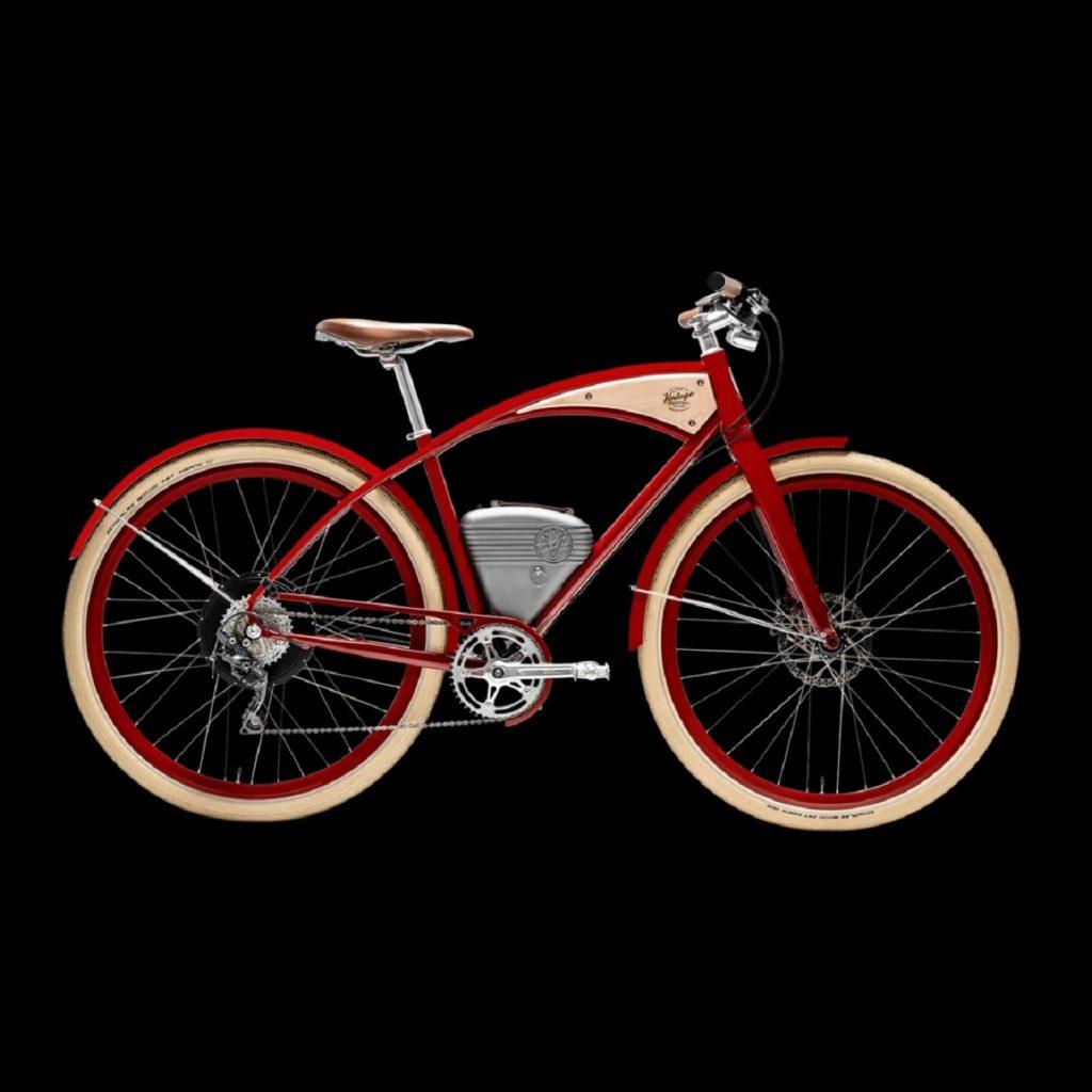A red-framed Vintage Electric Cafe e-bike