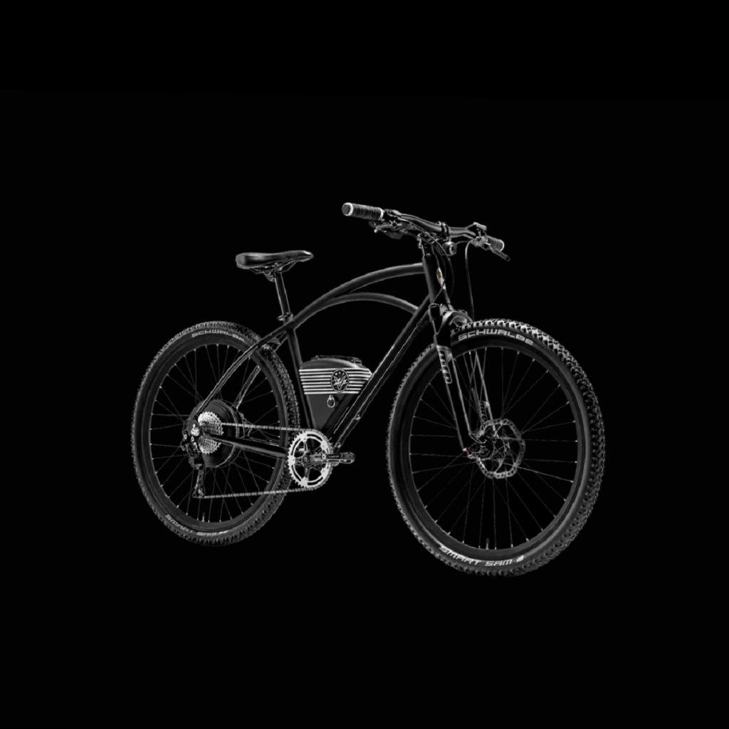 A black Vintage Electric Rally e-bike