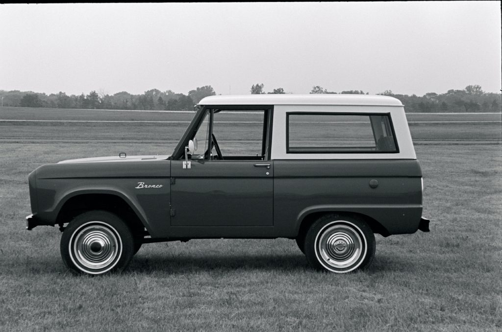 1966 Ford Bronco with bolt-on steel cab rides high, wide, and handsome.