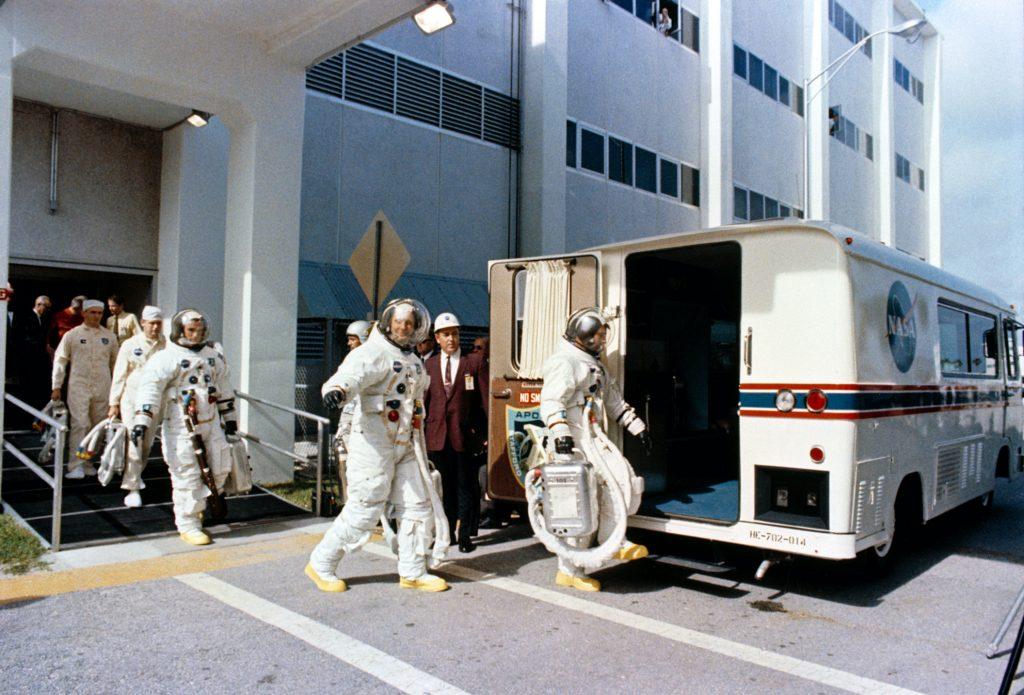 Apollo 11 Crew transported to shuttle in a converted Clark Cortez Coach RV