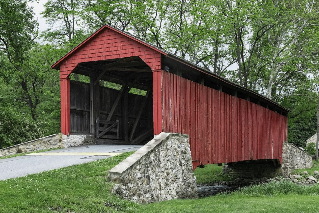 The Pool Forge Covered Bridge at Lancaster County in Pennsylvania. Perfect road trip scenery