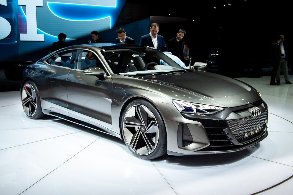 Audi E-Tron GT is displayed during the second press day at the 89th Geneva International Motor Show
