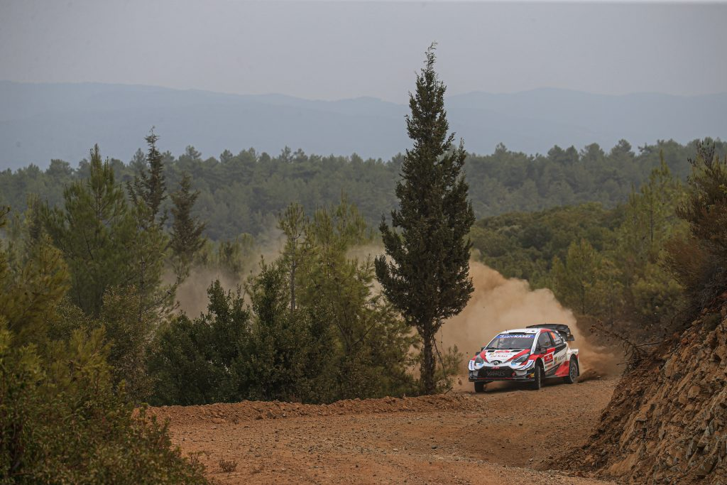 Kalle Rovanpera of Finland and Jonne Halttunen of Finland compete with their Toyota Gazoo Racing WRT Toyota Yaris
