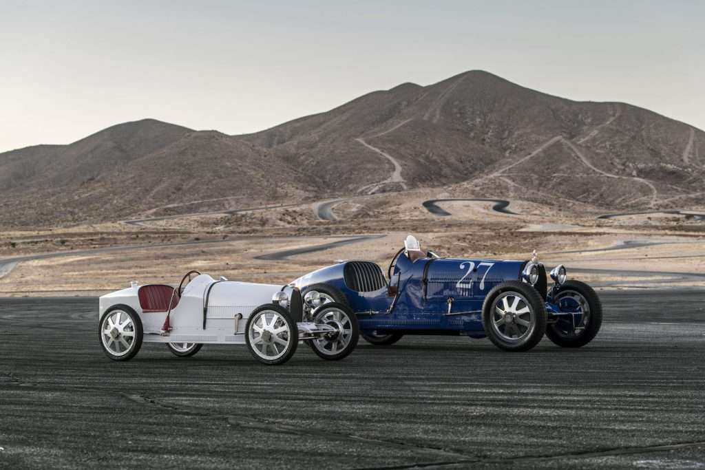An image of the Bugatti Baby II outdoors in California with a Type 35