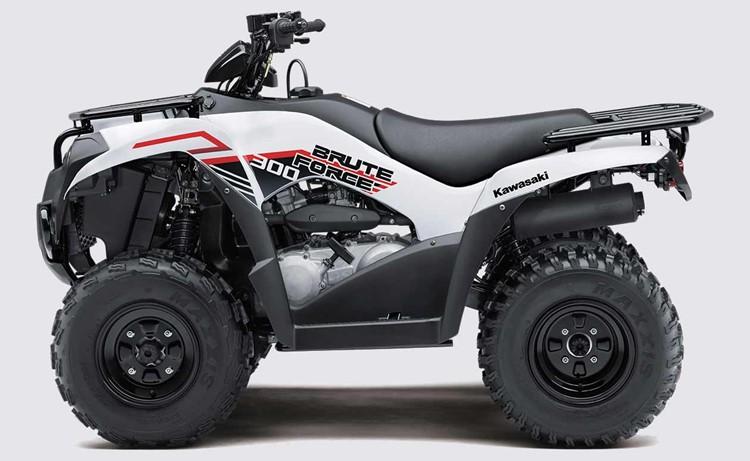 a white Kawasaki brute force ATV side view against a white backdrop