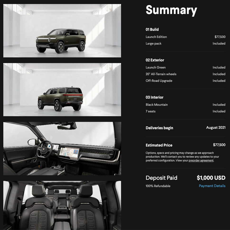 configuration summary of the Rivian R1S