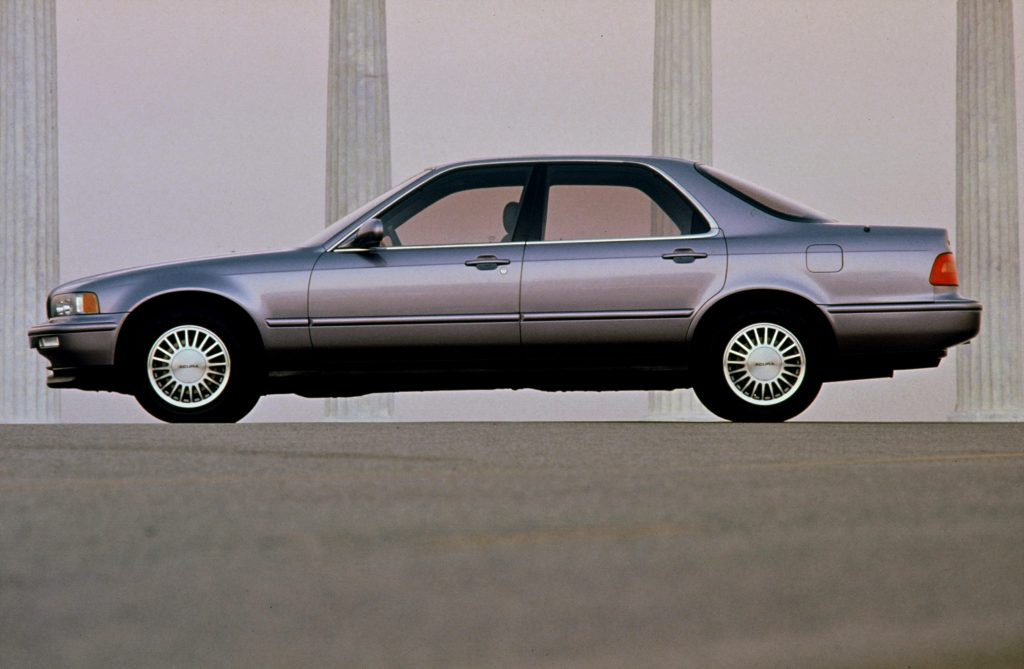 The side view of a gray 1991 Acura Legend