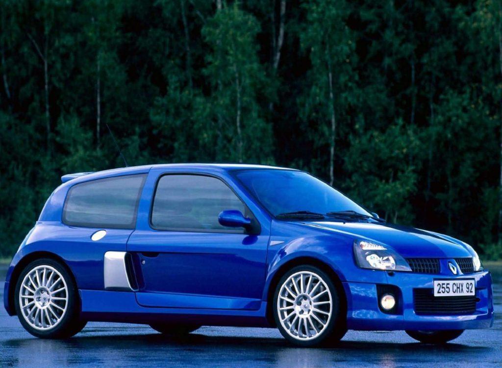 A blue 2003 Renault Sport Clio V6