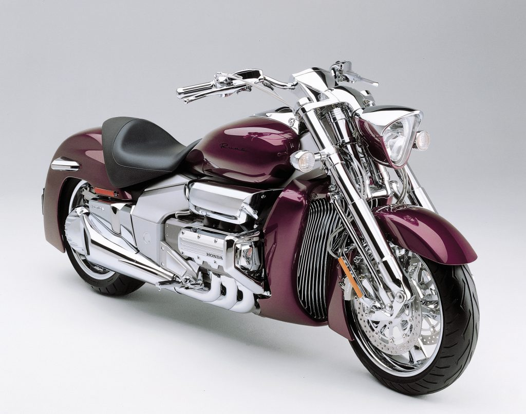 The front 3/4 view of a maroon 2004 Honda Valkyrie Rune