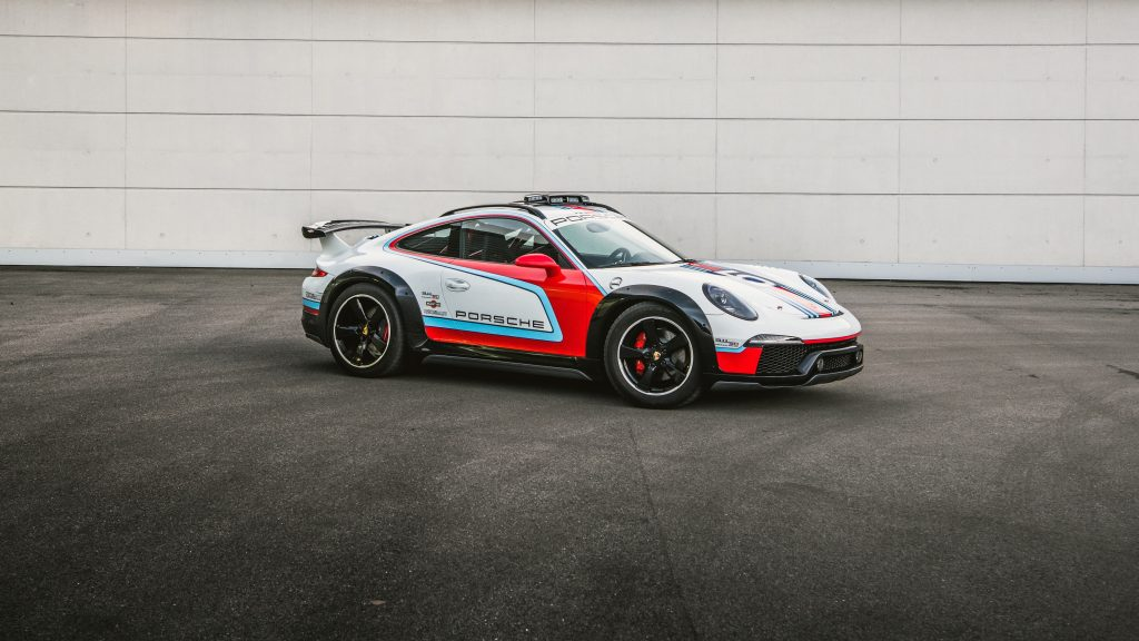 The white-red-and-blue 2012 Porsche 911 Vision Safari