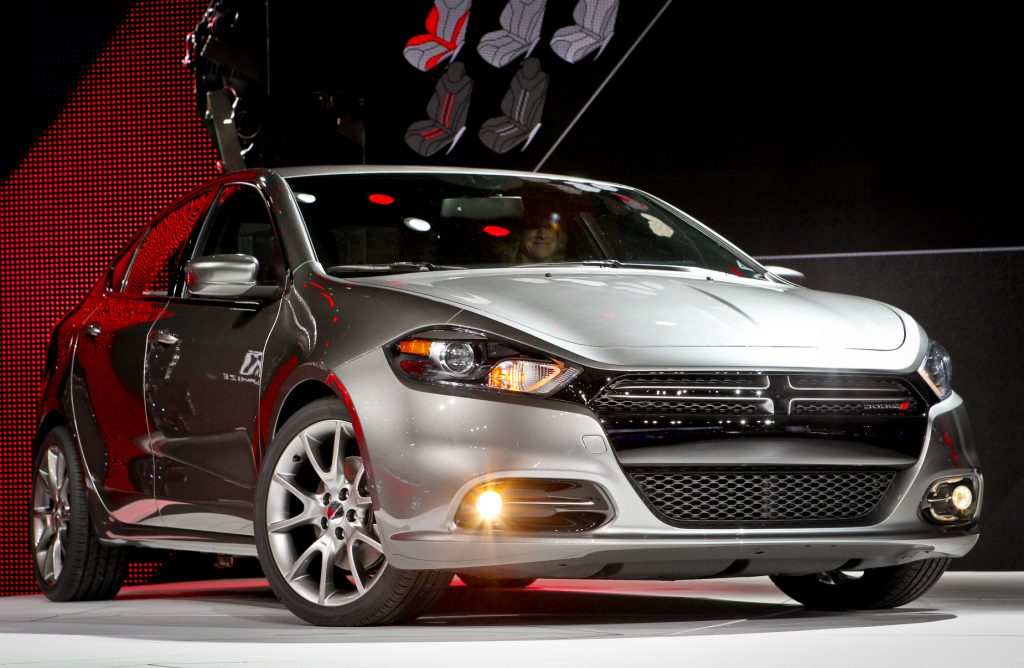 The 2013 Dodge Dart on display at an auto show