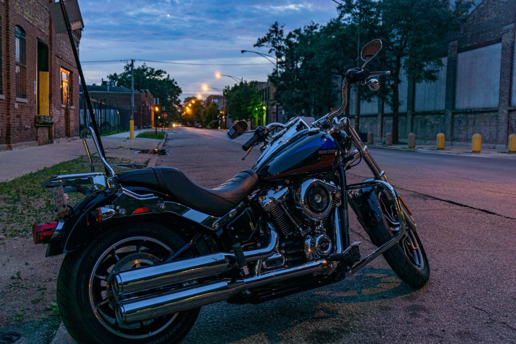 A blue-and-red 2019 Harley-Davidson Low Rider