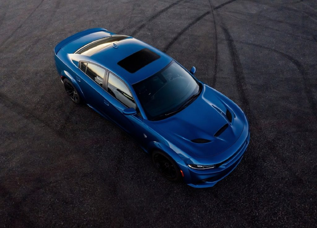 An overhead view of a blue 2020 Dodge Charger SRT Hellcat Widebody
