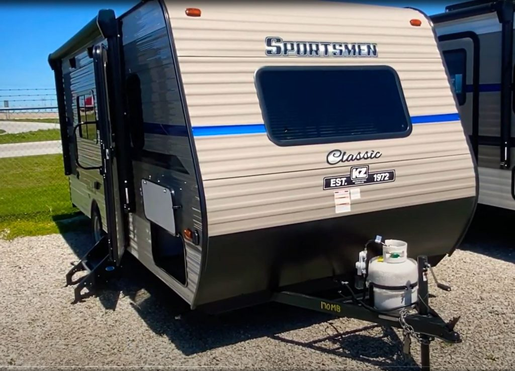 The front of a Sportsmen travel trailer RV