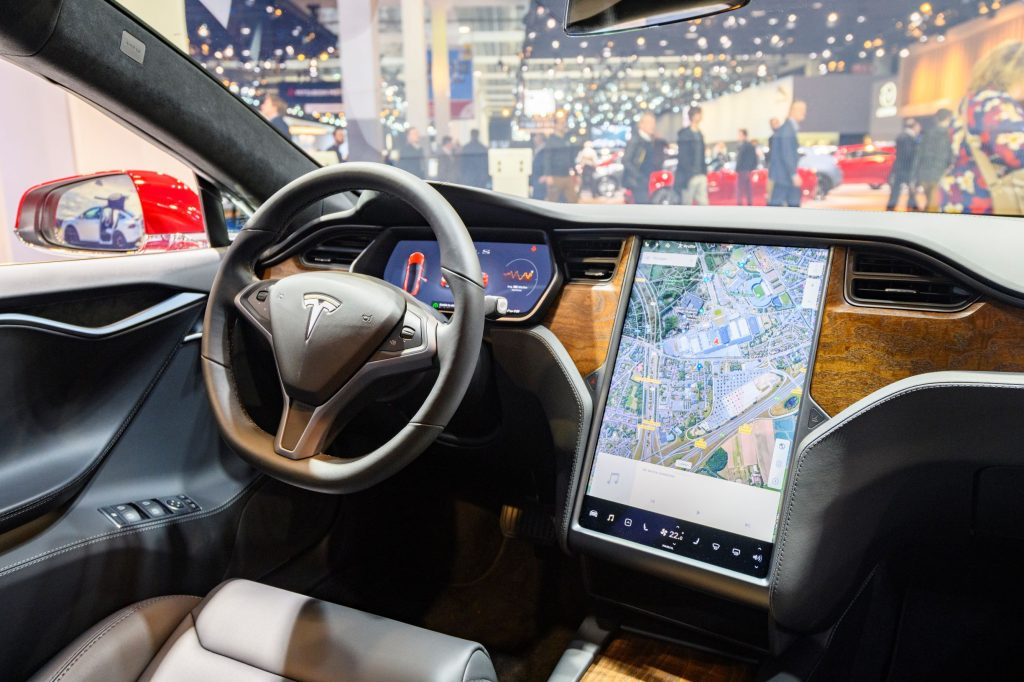 The 2020 Tesla Model S's wood-look dashboard and central screen