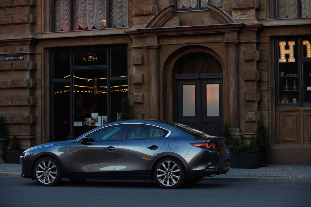 2020 Mazda3 parked in front of a building
